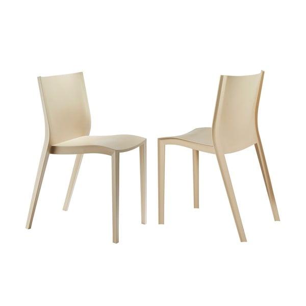 Komplet 2 krzeseł Slick Slick, beżowe