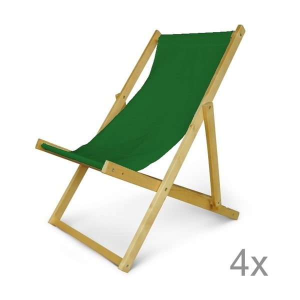Komplet 4 regulowanych leżaków drewnianych JustRest, butelkowo zielony