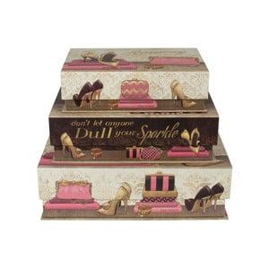 Zestaw 3 płaskich pudełek Dull