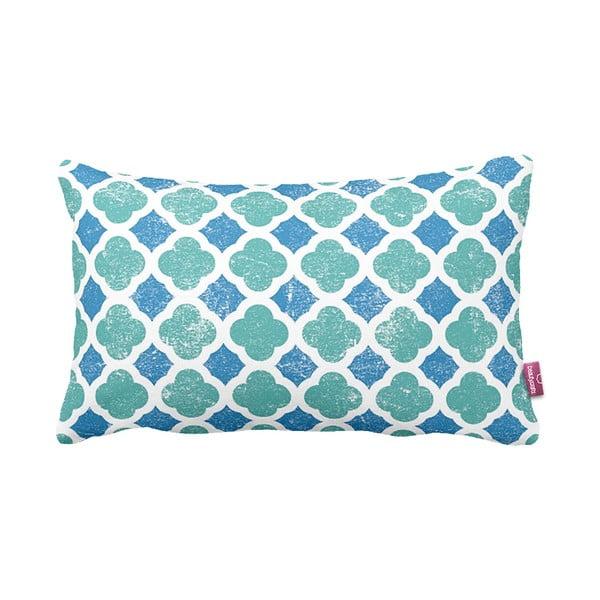 Turkusowo-biała   poduszka Retro Blue, 35x60cm