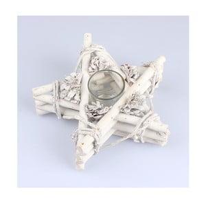 Biały świecznik rattanowy Dakls