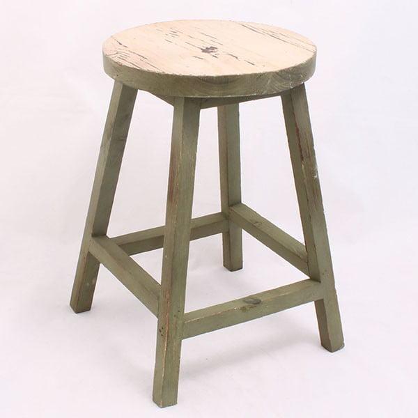 Drewniany taboret Ring, zielony