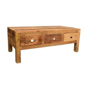 Stolik z litego drewna mango z 3 szufladami Massive Home Ella, dł.120cm