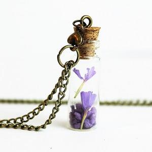 Naszyjnik Wish Bottle and Bronze Flowers