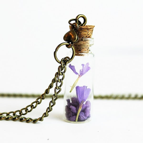 Naszyjnik Wish Bottle and Bronze Flowers