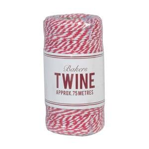 Czerwono-biała wstążka Rex London Bakers Twine, 75 m
