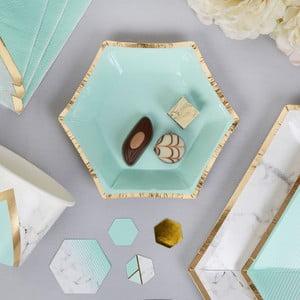 Zestaw 8 papierowych talerzy Neviti Mint Colour Block Marble, 12,5 cm