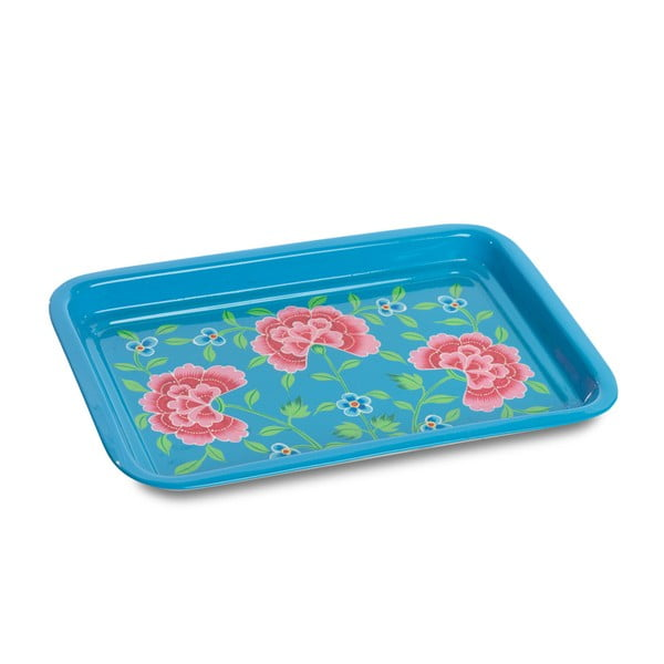 Taca Franjipani Floral Tray, niebieska