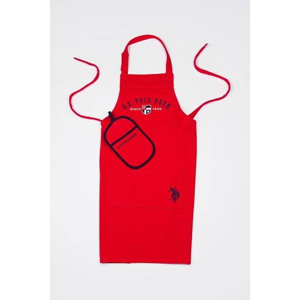 Komplet fartucha i łapki kuchennej U. S. Polo Assn. Red