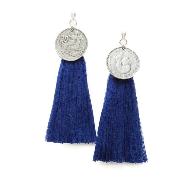 Kolczyki Nairobi Large Silver Royal Blue