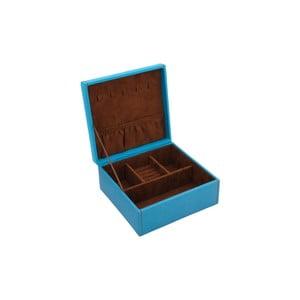 Niebieska szkatułka na biżuterię Friedrich Lederwaren Baccara, 18x18 cm