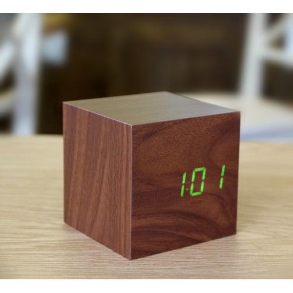 Ciemnobrązowy budzik z zielonym wyświetlaczem LED Gingko Cube Click Clock