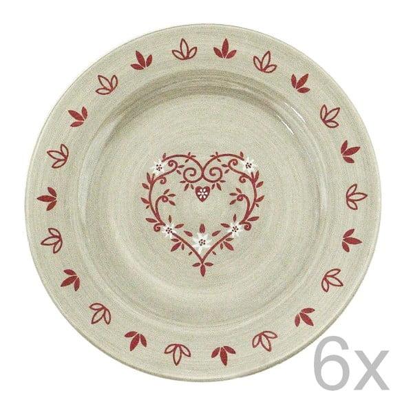 Zestaw 6 talerzy ceramicznych Heart 20 cm