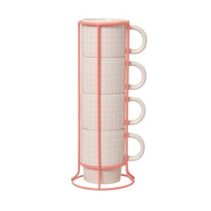 Zestaw 4 kubków na stojaku Cappuccino Grid Pink