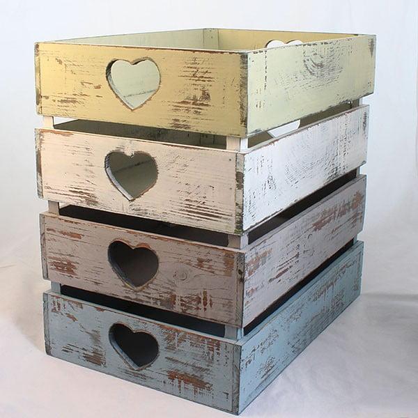 Drewniane skrzynki Hearts, 4 szt