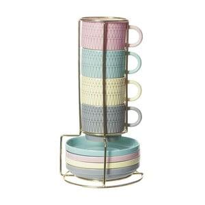 Zestaw 4 filiżanek ze spodkami na stojaku Espresso Coloured