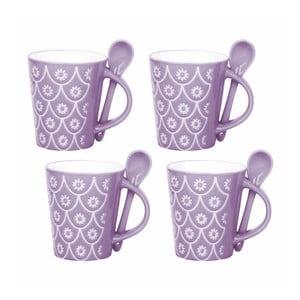 Zestaw 4 filiżanek z łyżeczkami Mugs, fioletowy