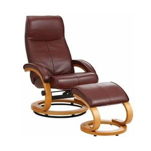 Brązowy regulowany fotel skórzany z podnóżkiem Støraa Rika
