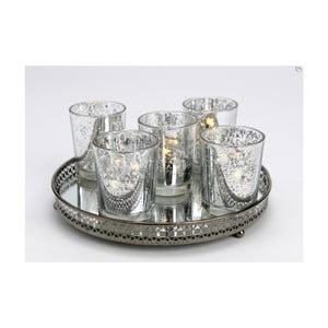 Zestaw 5 szklanych świeczników i tacy Round