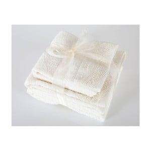 Komplet 4 białych ręczników z bawełny premium Belinda