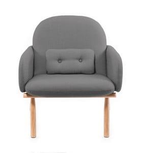 Ciemnoszary fotel z nogami z drewna dębowego Harto Georges