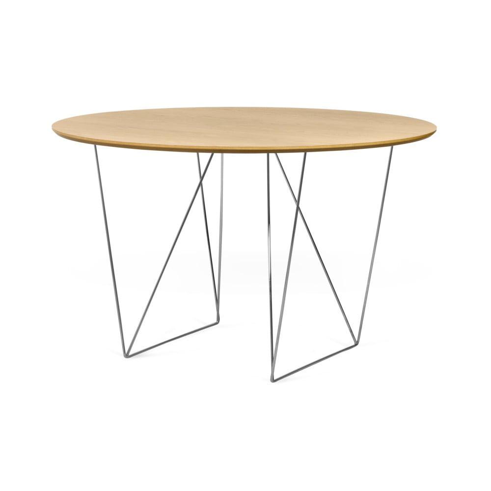 Stół w kolorze dębu z chromowanymi nogami TemaHome Row, ⌀ 120cm