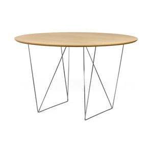 Stół w kolorze dębu z chromowanymi nogami TemaHome Row, Ø120cm