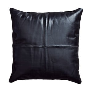 Czarna poduszka skórzana Fuhrhome Athens, 45x45cm