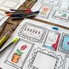 """Zestaw 4 mat stołowych do kolorowania Doodle, motyw """"ramki na zdjęcia"""""""