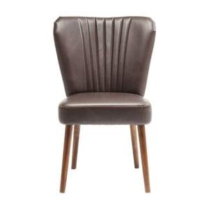 Brązowe krzesło skórzane z nogami z drewna brzozowego Kare Design Filou