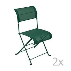 Zestaw 2 zielonych krzeseł składanych Fermob Dune