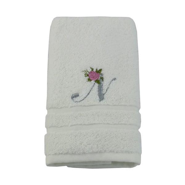 Ręcznik z inicjałem i różyczką N, 50x90 cm
