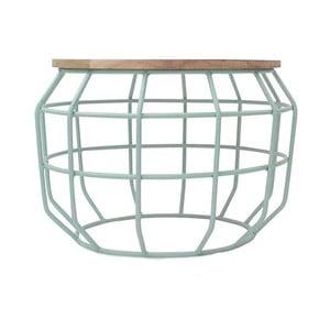 Miętowy stolik z blatem z drewna mangowca LABEL51 Pixel, Ø 56 cm