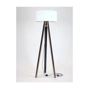 Czarna lampa stojąca z białym abażurem i czarno-białym kablem Ragaba Wanda