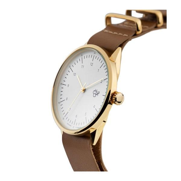 Zegarek z brązowym paskiem i złoto-z białym cyferblatem CHPO Harold