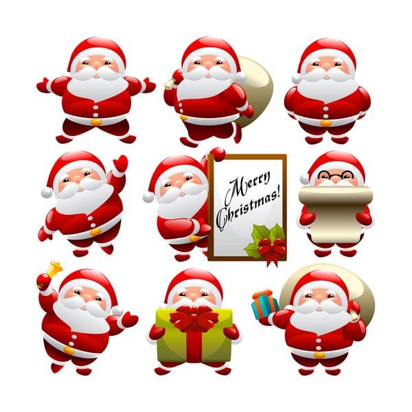 Zestaw 9 naklejek świątecznych Fanastick Funny Santa Claus
