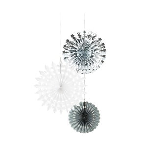 Zestaw 3 papierowych dekoracji Talking Tables White & Silver Snow Flake