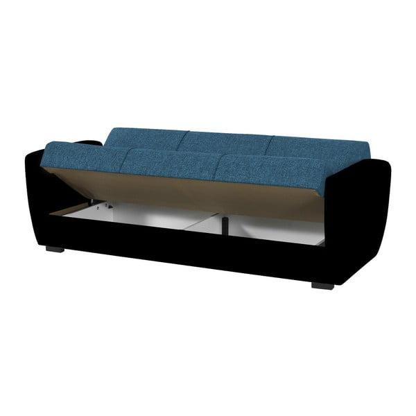 Niebiesko-czarna trzyosobowa sofa rozkładana ze schowkiem Esidra Comfort
