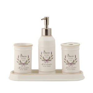 Zestaw 4 pojemników łazienkowych  Lavender