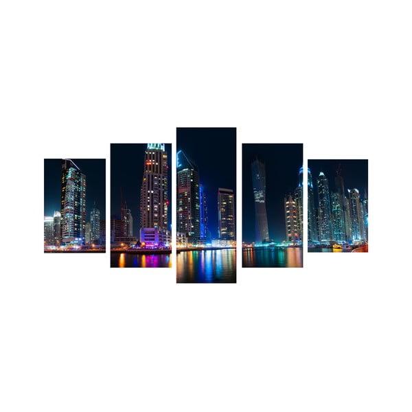 Pięcioczęściowy obraz Wielkie miasto nocą