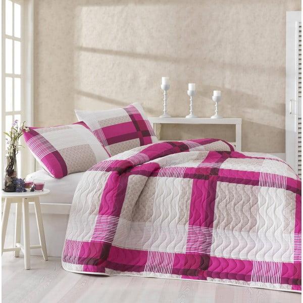 Komplet narzuty i 2 poszewek na poduszki Karo Pink, 200x220 cm