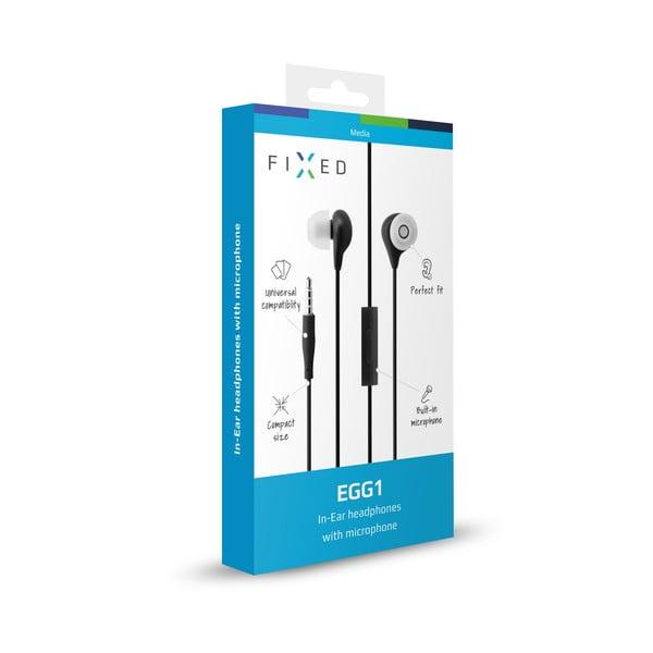 Słuchawki dokanałowe z mikrofonem FIXED EGG1, czarne