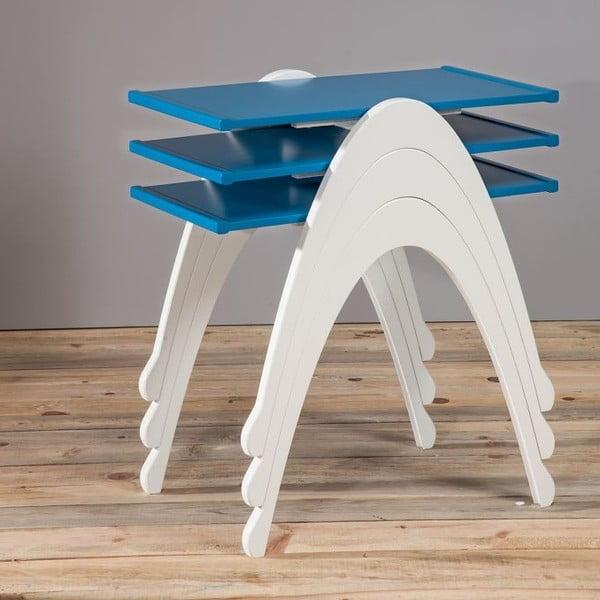 Zestaw 3 stolików Vega Nesting White/Blue