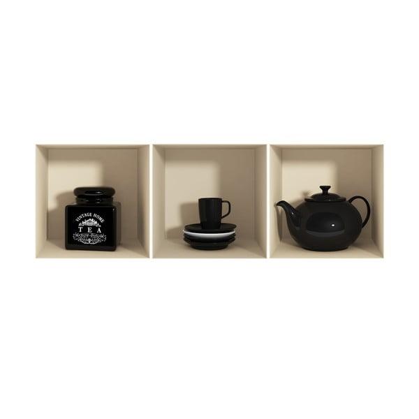 Zestaw 3 naklejek na ścianę 3D Ambiance Théière et tasses