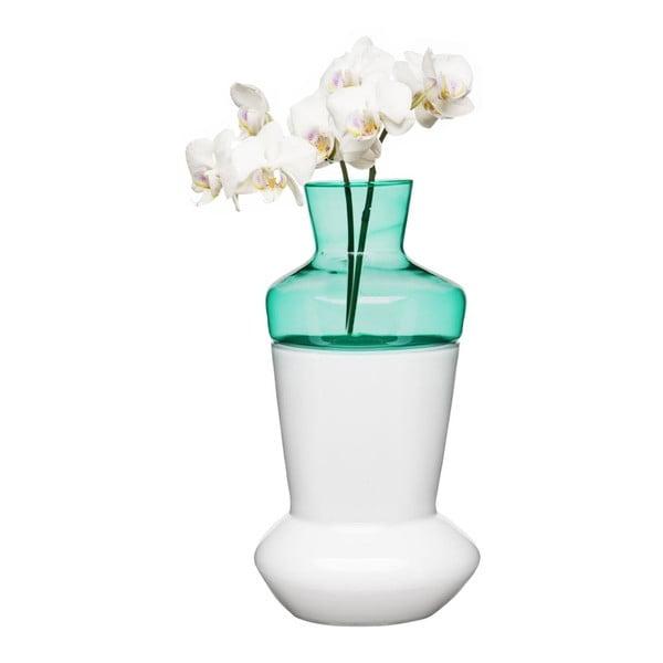 Dwuczęściowy wazon Duo, biały/turkusowy