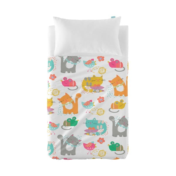 Narzuta i poszewka na poduszkę Moshi Moshi Cat&Mouse, 100x135 cm