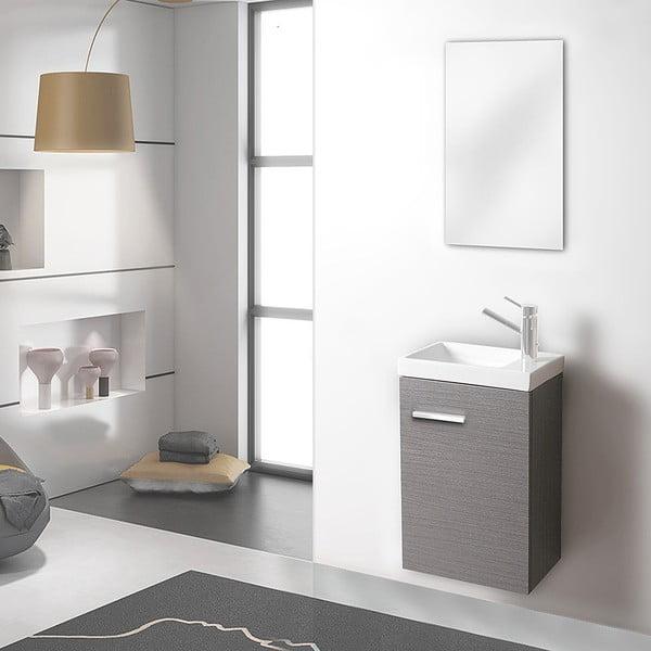 Szafka do łazienki z umywalką i lustrem Kai, odcień szarości, 40 cm