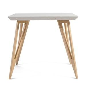 Stół z litego drewna jesionowego z białym blatem Charlie Pommier Triangle, 80x80cm