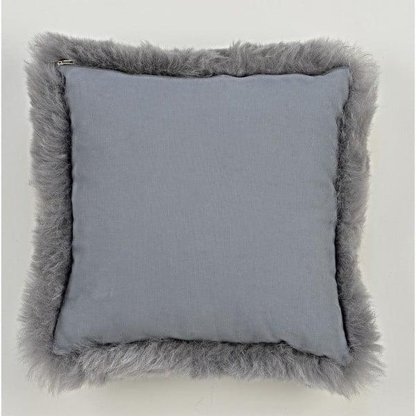 Szara poduszka futrzana z krótkim włosiem, 35x35 cm