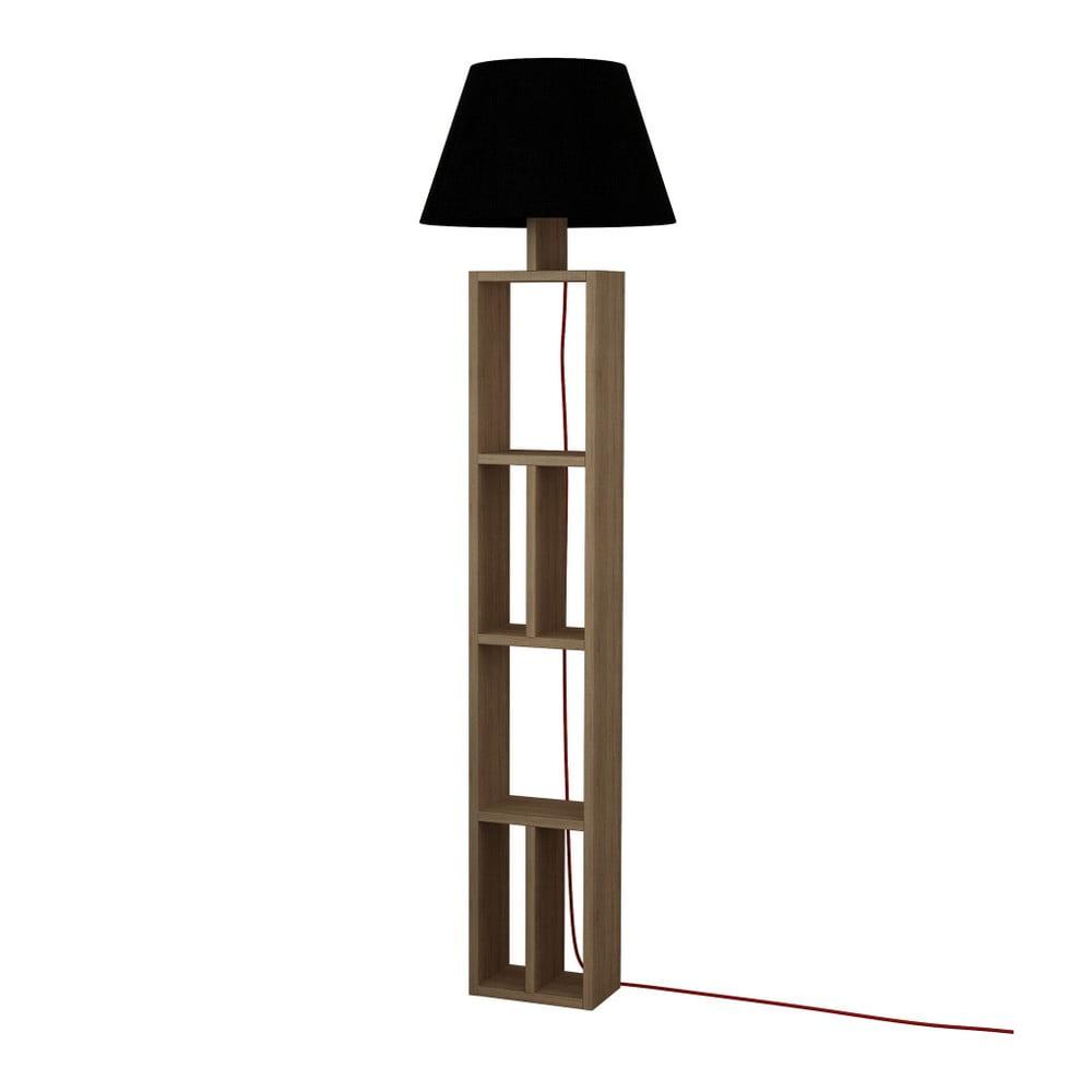 Brązowa wolno stojąca lampa z czarnym kloszem Giorno